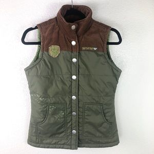 Roxy | Corduroy Vest Jacket Brown & Green Small